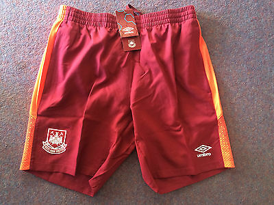 West Ham 2015/16 ADULT TRAINING SHORTS Claret/Coral - Various Sizes