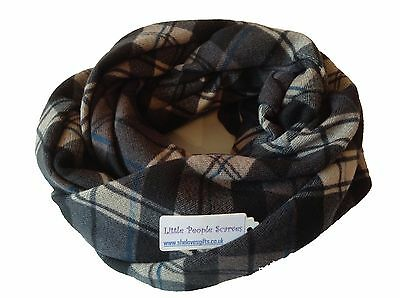Boys Children 'Little People' Classic Tartan Check Pattern Soft Warm Snood Scarf