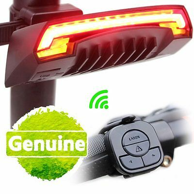 Bicycle Bike 2 Red Lasers Beam Cycling LED Rear Lights Safety Tail Lamp +Battery