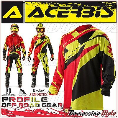 Maglia Acerbis Mx Profile 2017 Jersey Motocross Offroad Rosso/giallo Fluo Tg. Xl