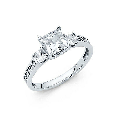 1.75 ct 14K White Gold Engagement Ring Princess Cut 3 Stone Diamond Engagement