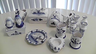Vintage 15pc Hand Painted Blue Delft E H Holland Collection