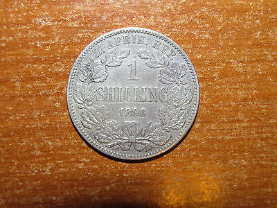 ZAR South Africa 1896 silver Shilling coin President Kruger nice