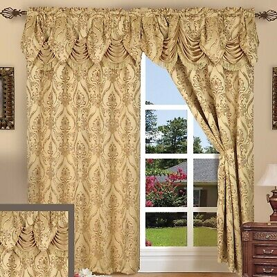 NEW 3 pc Window Curtains Panels Drapes Pair Valance Set 84 in Blackout Gold NWT