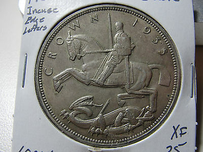 1935 Great Britain Crown Incuse Edge Lettering XF Coin
