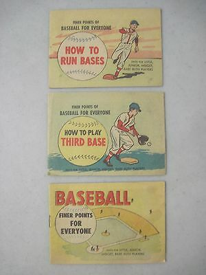 1962 LOT OF 3 FINER POINTS OF BASEBALL FOR EVERYONE MINI COMICS Wm. C. POPPER CO