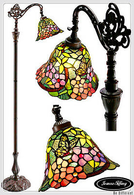 New Arrivals@Blue Dragonfly Leadlight Stained Glass Tiffany Floor Torchiere Lamp