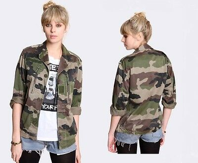 New Vintage Women's French F2 camo jacket coat surplus army military camouflage