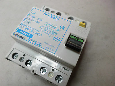 NHP TERASAKI - DIN-SAFE RCD - 3 PHASE 40amps 30mA - Din Rail Mounting