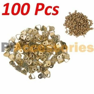 """100 Pcs 1/2"""" inch D Ring Hanging Picture Frame Hanger Hooks Brass Plated Screw"""
