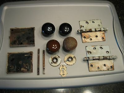 Antique Porcelain & Brass Door Knobs, Hinges and Lock Sets