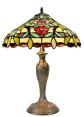 Traditional Large  Flower Style Leadlight  Stained Glass Tiffany Table Lamp
