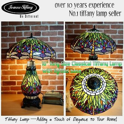 """Joanne Tiffany@King 18"""" Classical Green Dragonfly Top Quality Tiffany Table Lamp"""