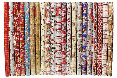 10 X 5M Rolls Christmas Xmas Gift Wrapping Paper Assorted Design Santa Penguin