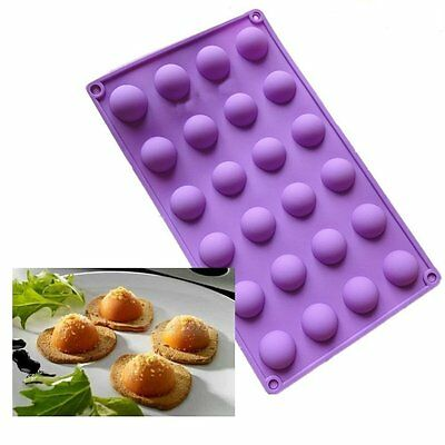 24 Cavity Half Ball Sphere Silicone Chocolate Mold Ice Cube Tray Cookie DIY Mold