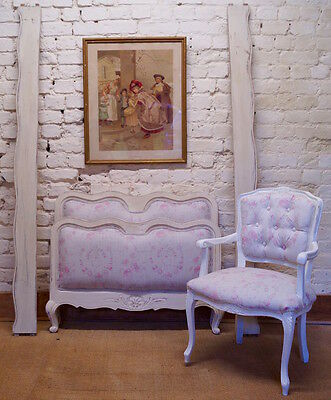 French Antique Single Bed and Armchair upholstered in KATE FORMAN 'Amelia'