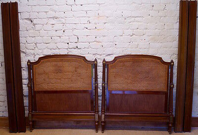 Pair of Antique French Louis XVI Caned Single Beds with Slatted Bases