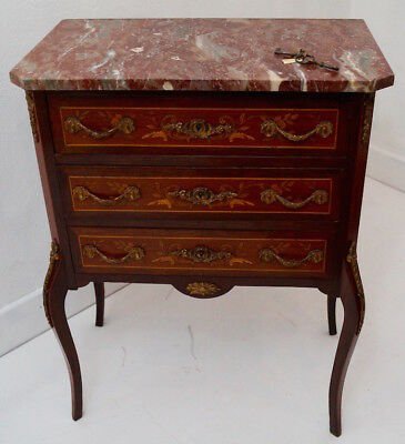 Antique French Louis XV Marble Topped Commode / Chest of Drawers