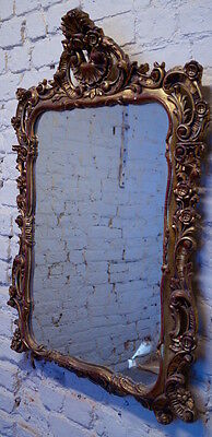 Vintage French Louis XV Style Gilt Over Mantle Mirror