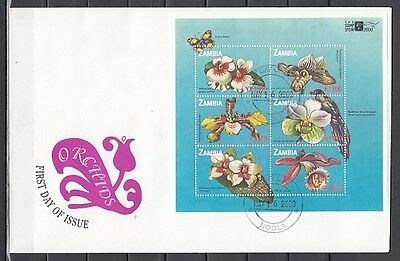 * Zambia, Scott cat. 872. Orchids sheet on a First day cover cover.