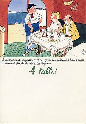 Menu Publicitaire Pharmaceutique / Illustrateur Jean Bellus / A Table