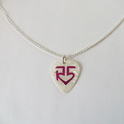 R5 R5 ROSS RYDEL RIKER guitar pick plectrum SILVER TONE CURB CHAIN NECKLACE 24""