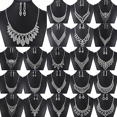 NT Prom Wedding Bridal Party Crystal Rhinestone Necklace Earring Jewelry Sets