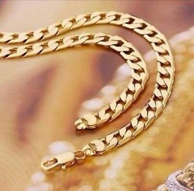 """9ct 9K Yellow """"Gold Filled"""" Men Ladies Curb Ring chain necklace 20.5"""" ,W= 8mm"""