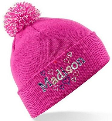 GIRLS PERSONALISED WINTER BOBBLE HAT - HEARTS DESIGN embroidered WITH any NAME!