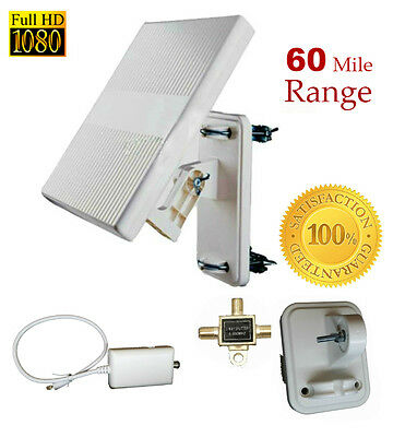 SMART ANTENNA-[60 mile] Flat-OMNI Directional OVA/VHF/UHF/HDTV FREE2WAY SPLITTER