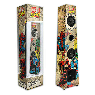 Retro Marvel Avengers Bluetooth 2.1 Tower Speaker Wireless Stereo Sound System