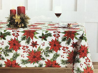 Nicole Miller Red Poinsettia Tablecloth Pine Holly Berry Green Christmas  60x102