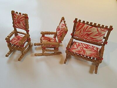 Magnificent Vintage Folk Or Tramp Art Clothes Pin Rocking Chair Set Squirreltailoven Fun Painted Chair Ideas Images Squirreltailovenorg