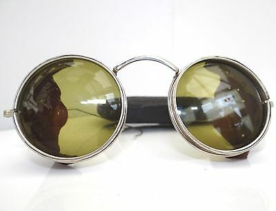 1940s WWII USA WILSON ARMY ROUND GREEN TINT SUN GLASSES SPECTACLES LEATHER SIDES