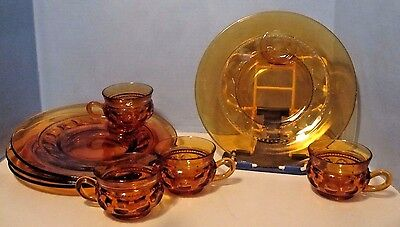 Set of 4 Indiana Glass Amber Kings Crown Snack Plate and Cup Thumbprint 8 Piece