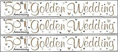 50th Golden Gold Wedding Anniversary 9ft / 2.7M Long Party Banner Splits Into 3
