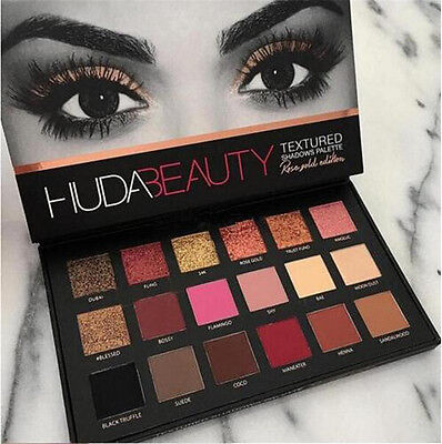 Huda Beauty Rose Gold Palette Textured Shadows Palette & Xmas gift 18 Colors