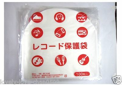 "TAGUCHI 100pcs Stat Disc File Plastic Inner Sleeves 12"" Record LP JAPAN"