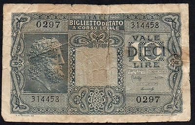 1944 ITALY 10 LIRE BANKNOTE * 314458 * aF * P-32 *