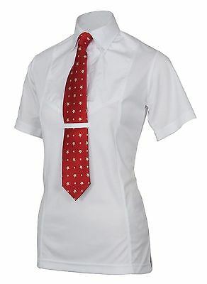 Shires Childs  Short Sleeved Tie Shirt White Medium