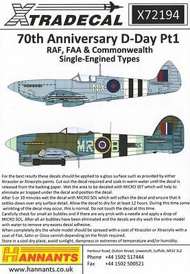 Xtradecal X72194 1/72 D-Day 70th Anniversary Pt 1 RAF Model Decals
