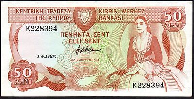 1987 Cyprus 50 Cents Banknote * K 228394 * Vf+ * P-52 *