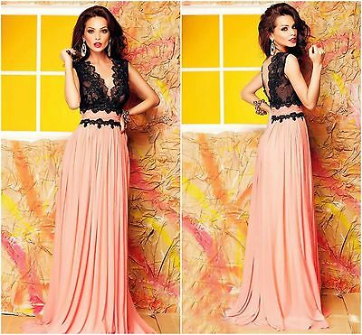 Ladies Women V Neck Lace Bodice Contrast Maxi Evening Prom Dress Size 8-10 10-12