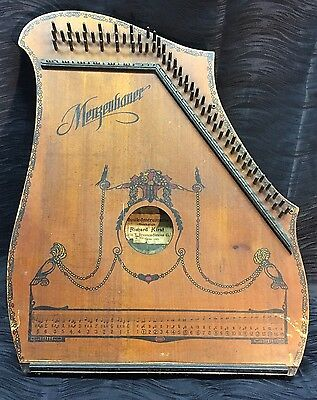Antique Vintage Guitar Zithar Menzenhauer and Schmidt Rare Design Birds Flowers