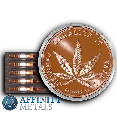 5 Coins Legalize It 1 oz Copper Bullion Rounds In Protective Capsules