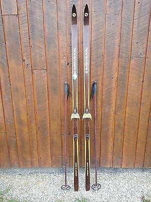 """VINTAGE Wooden Hickory 79"""" BROWN Skis Signed NOR MARK with Bamboo Poles"""