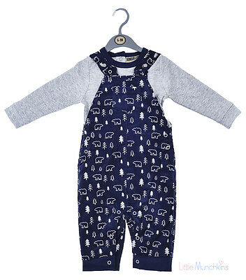Baby Boys Top & Lined, Cord Dungaree Outfit 0-9 Months