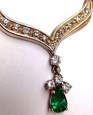 18K Yellow Gold Deep Blue Green Colombian Emerald Pear and Diamond Necklace