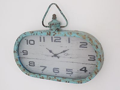 Vintage Retro Industrial Wall Mount Clock Rustic Look Blue Oval Face Analogue