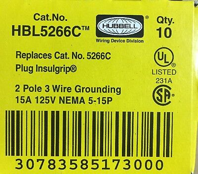 Lot Of (10) New In Box Hubbell HBL5266C 15A 125V